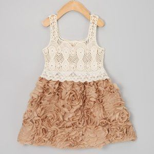 Other - Brown & Cream Chiffon Rosette Dress - Size: 3T/4T